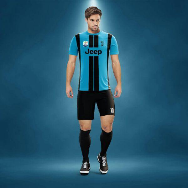 Juventus Turkuaz-Siyah Dijital Halı Saha Forma